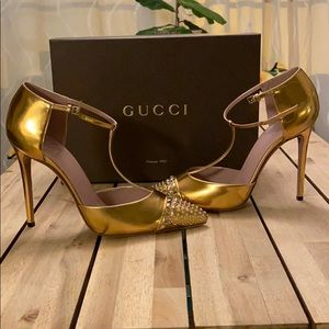 Gucci Gold Studded Metallic Leather T-Strap Pump